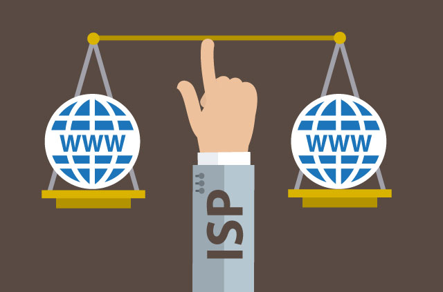 Net neutrality in the balance: A hand labeled ISP holding a scale with internet content on each end.