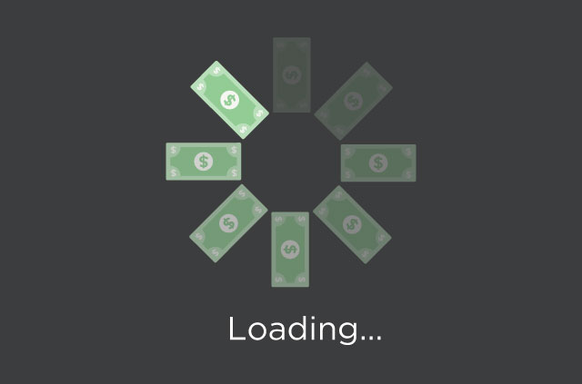 "Dollars forming a circular ""wait"" icon above a ""Loading…"" message. Without net neutrality, expect a slower internet."