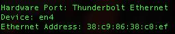 Hardware Port: Thunderbolt Ethernet