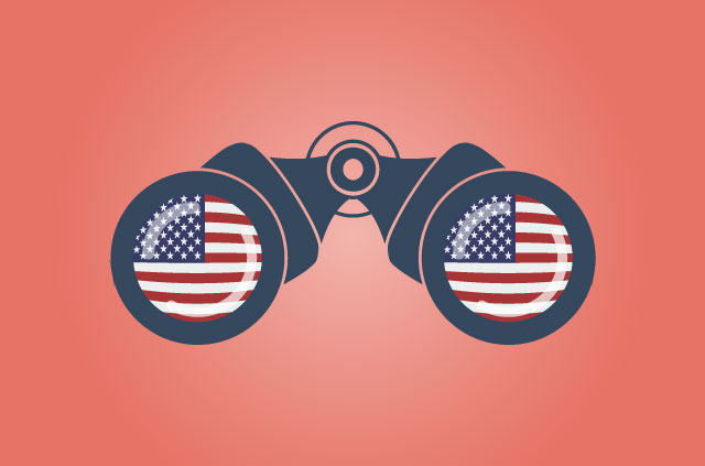 Surveillance binoculars with American flags