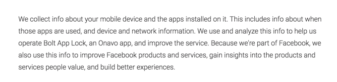 Screenshot of Bolt App Lock's Privacy Policy