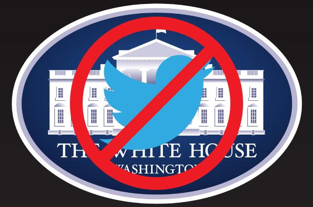 White House logo with blocked Twitter image