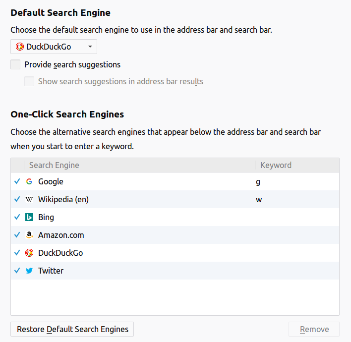 Firefox default search options