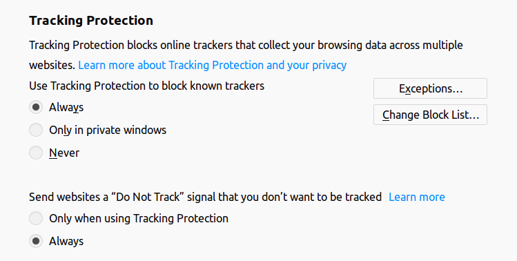 Firefox tracking protection options.
