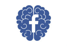Blue brain with facebook logo