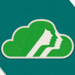 girl scouts logo on a cloud with a green background