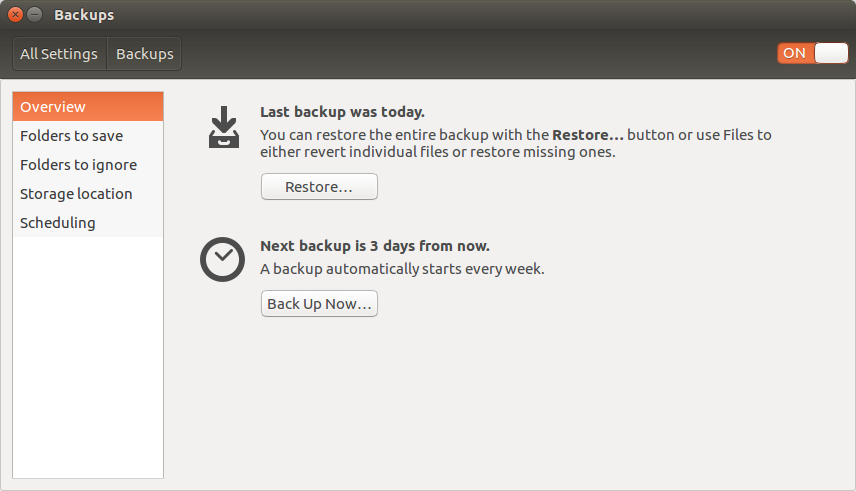 Screenshot of the Ubuntu Backups Settings page