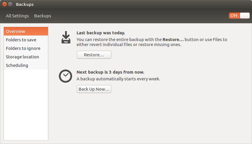 Screenshot of the Ubuntu Backups Settings page