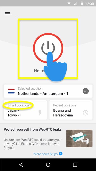 Screenshot of ExpressVPN's Smart Location button
