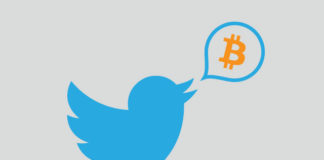 A Twitter icon tweets a Bitcoin logo from her mouth.