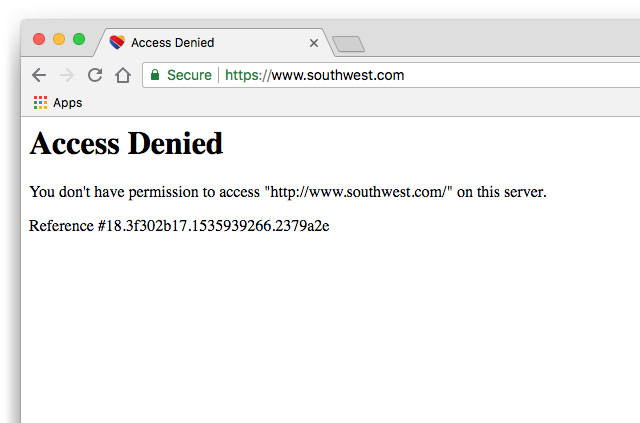 Screenshot: The Soutwest Airlines access denied page.