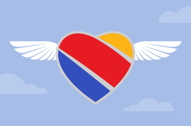 Southwest Airlines logo flying high in the sky! Bypass