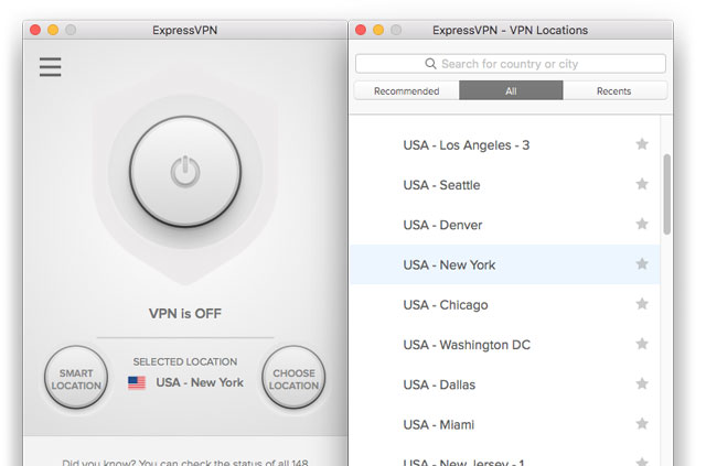 ExpressVPN screenshot: Connect to a U.S. server location to access Southwest Airlines from abroad.