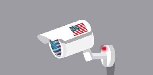 A security camera stamped with the U.S. flag.