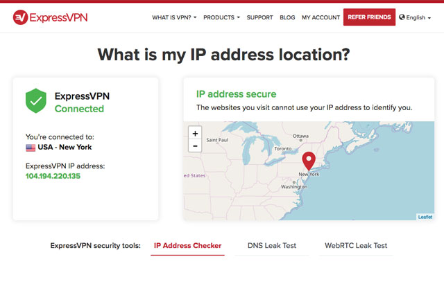 Screenshot: ExpressVPN's What Is My IP page. If you appear in the U.S., you can access Southwest Airlines.
