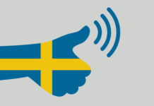 A Swedish flag fashioned to look like a thumbs up.