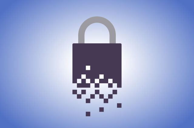 An illustration of a pixelated padlock
