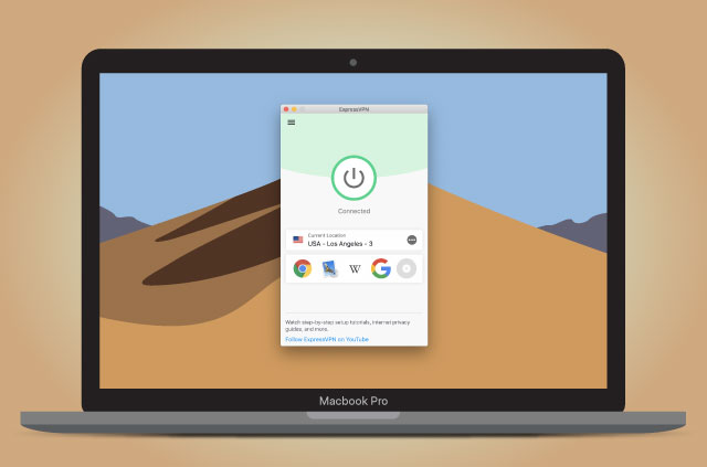 An illustration on the new ExpressVPN app for Mac in action.