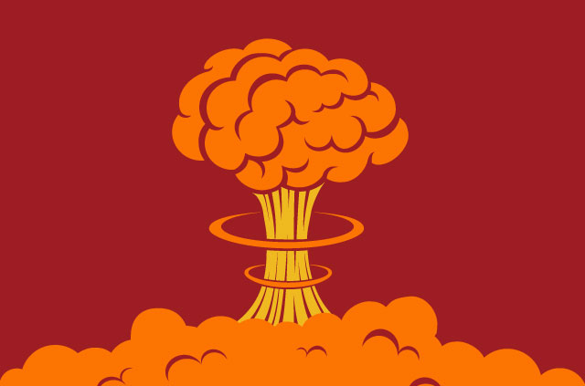 An illustration of an atomic bomb explosion. Because this is serious stuff.