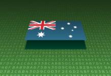 An Australian flag sits atop a series of alphanumeric digits.