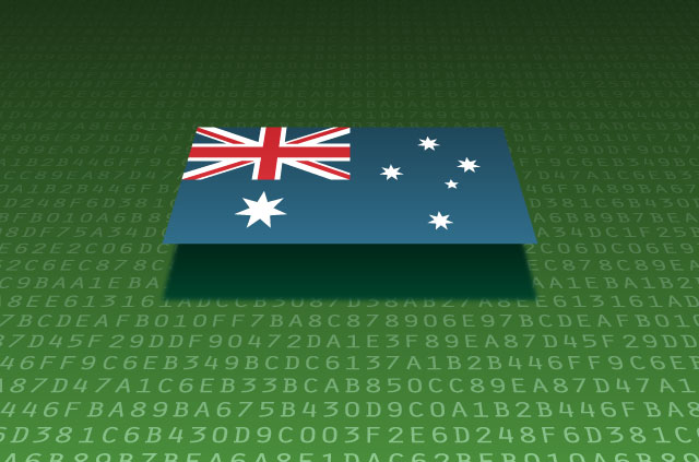 An Australian flag sits atop a series of alphanumeric digits.