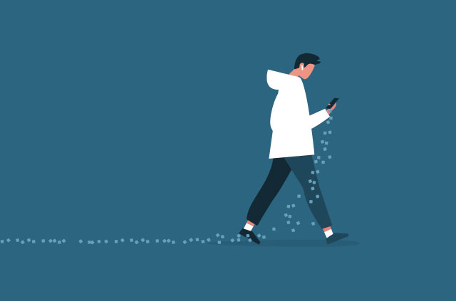 An illustration of a man walking with a phone as data spills onto the floor.