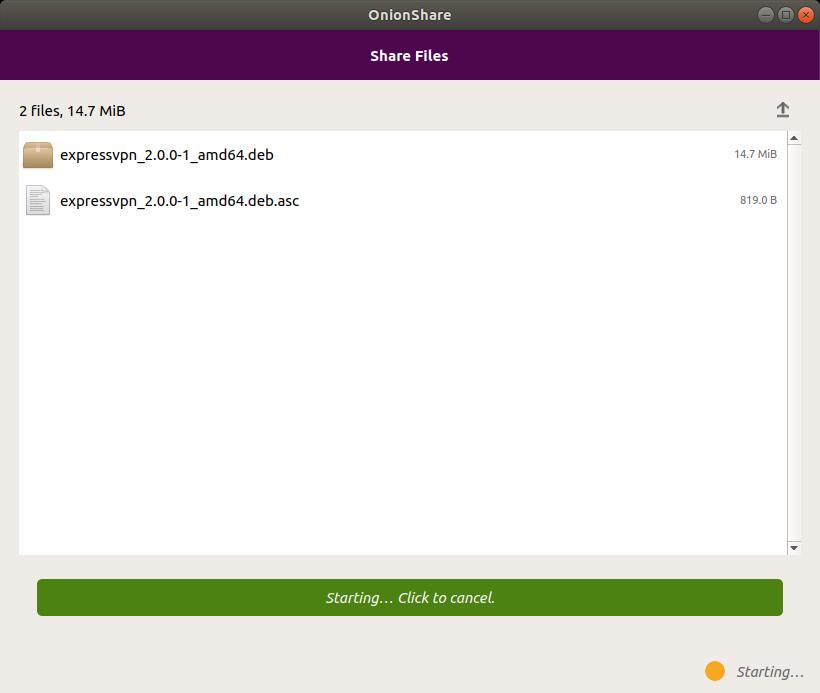 Share files with OnionShare screenshot