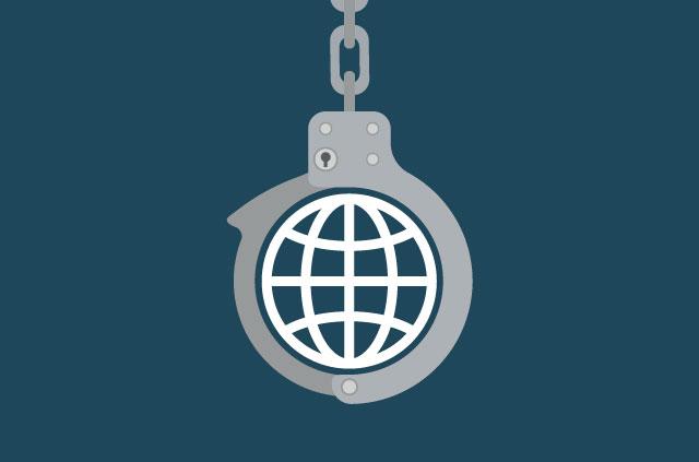 An illustration of internet symbol in handcuffs.