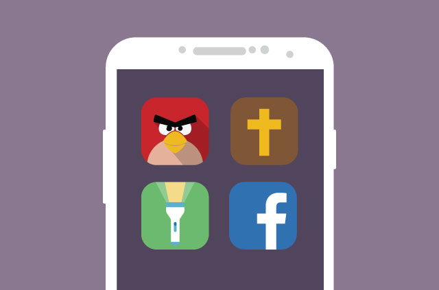 The Angry Birds, Holy Bible, Facebook,and Flashlight app icons.