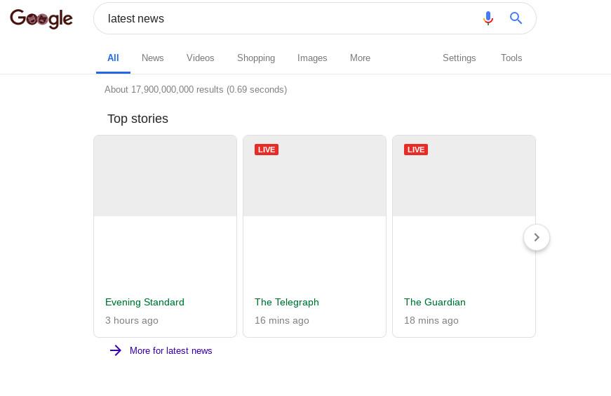 Google新闻的屏幕截图显示空白片段。