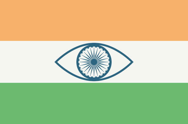 Indian flag with an eye in the middle.
