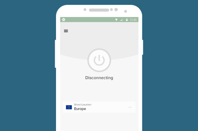 A screenshot of the ExpressVPN app, disconnecting from the fictional EU server location.