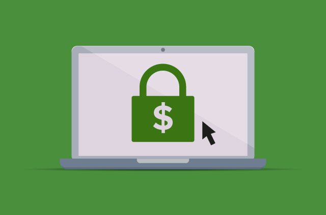 Laptop with a green padlock with a dollar sign on it.