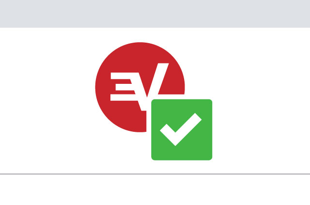 The ExpressVPN logo with a green tick.