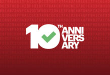 "A red background with white text. The text says ""10th anniversary""."