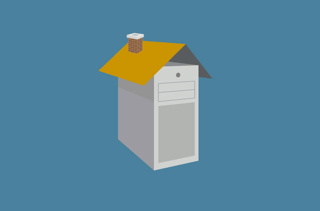 An illustration of a desktop computer with a house roof.