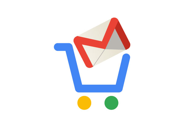 A google shopping cart with the Gmail logo inside the cart.