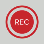 Red circular record button.