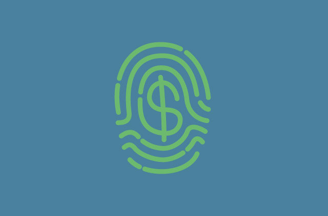 An illustration of a finger print, but the inner lines form a dollar sign. Boom!