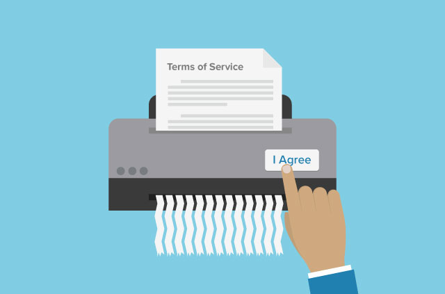 An illustration of a shredder shredding a terms of service document.