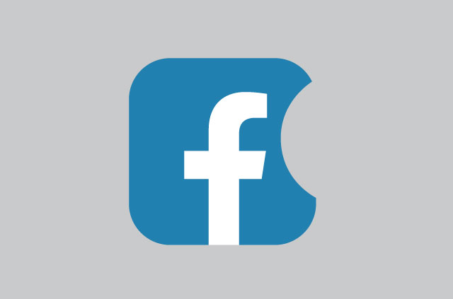 The Facebook logo with a bite taken from it, similar to Apple's logo.