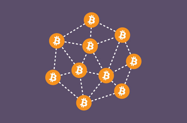 Numerous Bitcoin logos daisy-chained together.