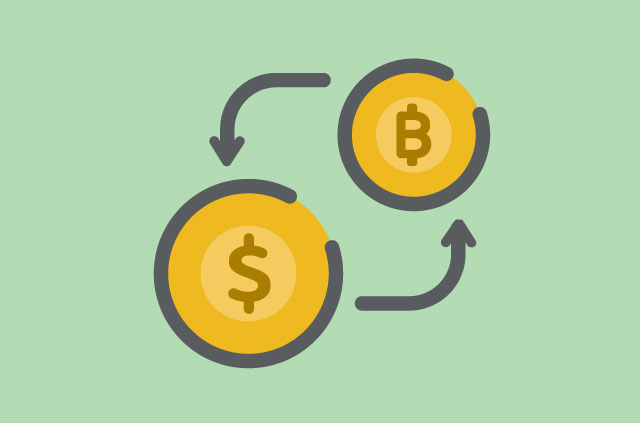 A Bitcoin and a dollar, synced by two circular arrows.