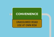 "An illustration of a road warning sign that says ""Convenience""."