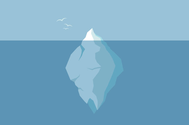 An illustration of a massive iceberg, with only the tip showing above the water.