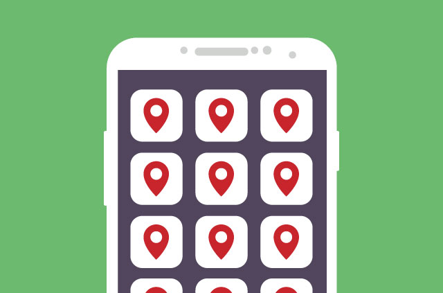An illustration of an iPhone. There are lots of app icons on the screen. But wait! There's a twist. All the icons are, in fact, the location icon (as used on digital maps everywhere).