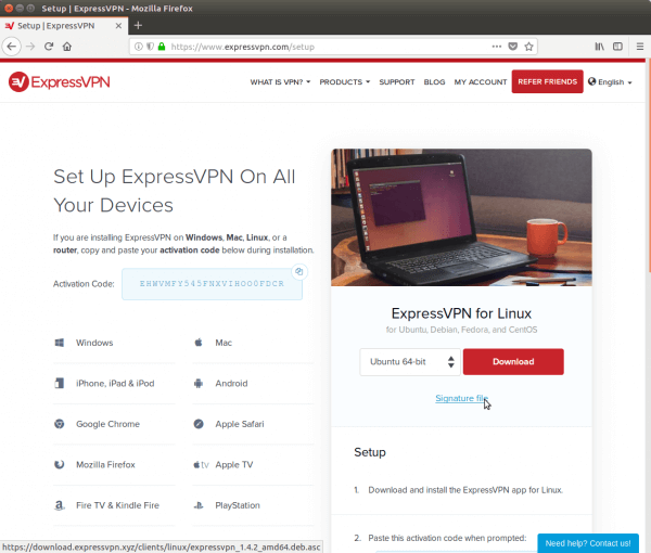 A screenshot of ExpressVPN's Setup Page