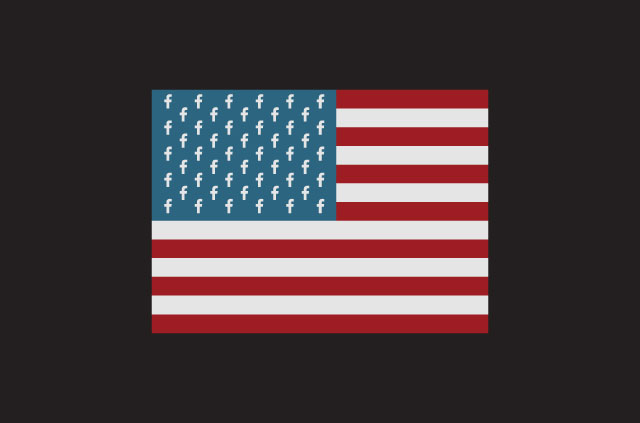 An illustratoin of the Stars nd Stripes, but the Facebook F replaces all the stars.