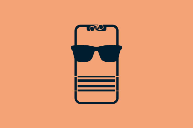Mobile phone wearing sunglasses, scard, and webcam cover.