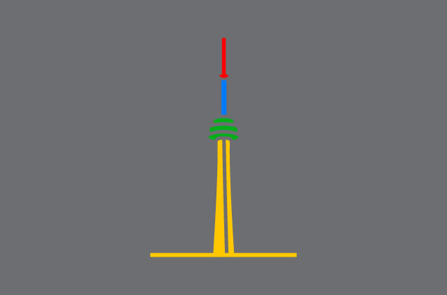An illustration of the CN Tower, in Google colors.